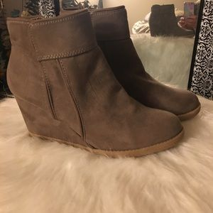 Wedge Ankle Booties Suede